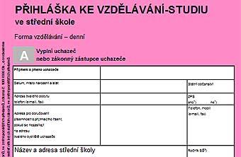Formulář - přihláška na SŠ