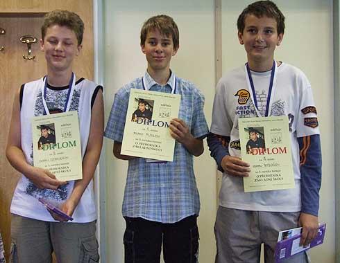 Tři nejlepší šachisté 3. ročníku turnaje ...